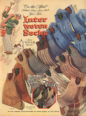 1944 WW 2 AD INTER WOVEN MEN'S SOCKS for Father's Day , Air Raid Warden 051218