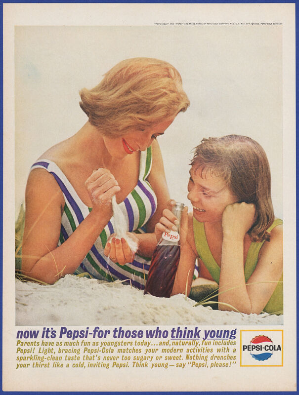 Vintage 1963 PEPSI-COLA Pepsi Soda Pop Cola Mother Daughter Beach 60