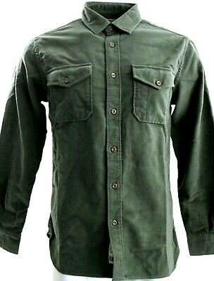 NWOT - Mens $175 GUIDEBOAT CO Brisbane Moss Green British Moleskin SMALL Shirt -