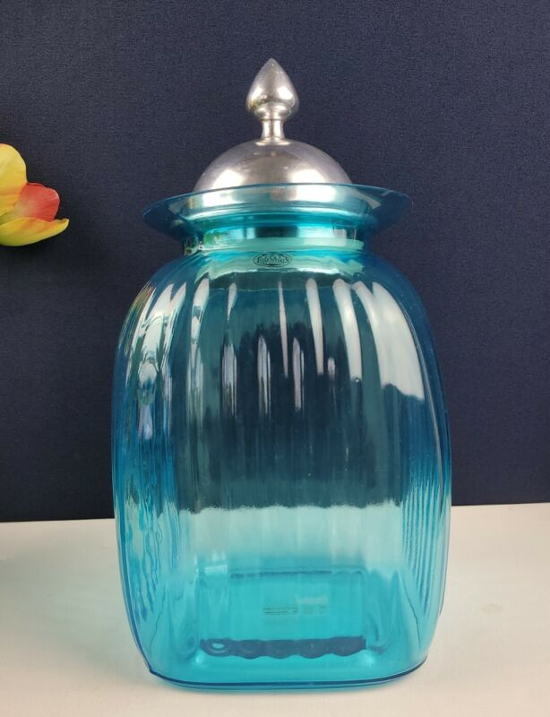 Home Essentials and Beyond Cyan Glass Cookie Jar with Silver Toned Lid