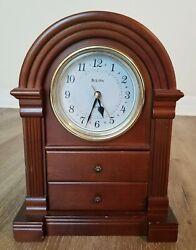 Bulova Model B1880 Anniston Mantel Clock - Walnut Finish CTx#227