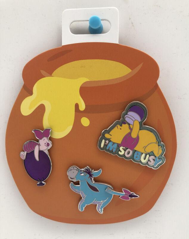 Oh My Disney Trading Pin Set - 3 Pins Winnie The Pooh & Hunny, Piglet, Eeyore