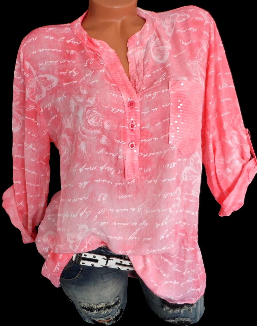 Damenbluse Hemdbluse Tunika Sommer Bluse Shirt Hemd Coral M L XL 2XL 38 40 42 44