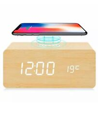 fomobest Wooden Alarm Clock with Wireless Charging for iPhone Samsung, Bamboo