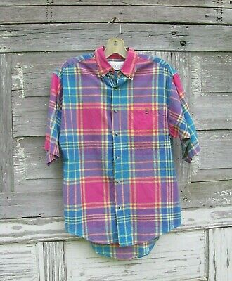Madras Plaid Shorts (Cotton Indian Madras Plaid Short Sleeve Button Down Shirt Mens size Small)