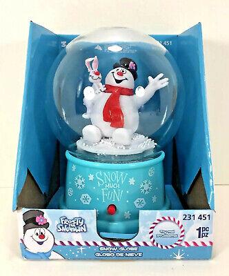 NEW Musical Plastic Snow Globe FROSTY THE SNOWMAN Christmas Music Blue Rabbit ()