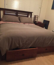 Japanese style queen bed, mattress and bedside Artarmon Willoughby Area Preview
