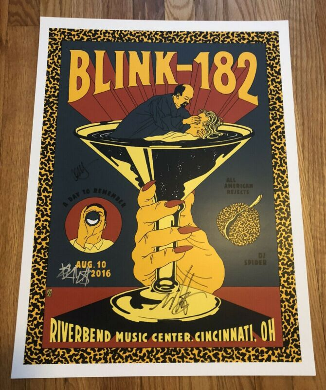 Blink-182 8/10/16 Cincinnati AUTOGRAPHED Event Poster ORIGINAL SIGNED