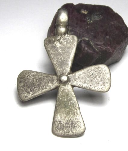 RARE AMAZING LARGE OLD SOLID SILVER ETHIOPIAN CROSS ANTIQUE PENDANT 6mm x 46mm