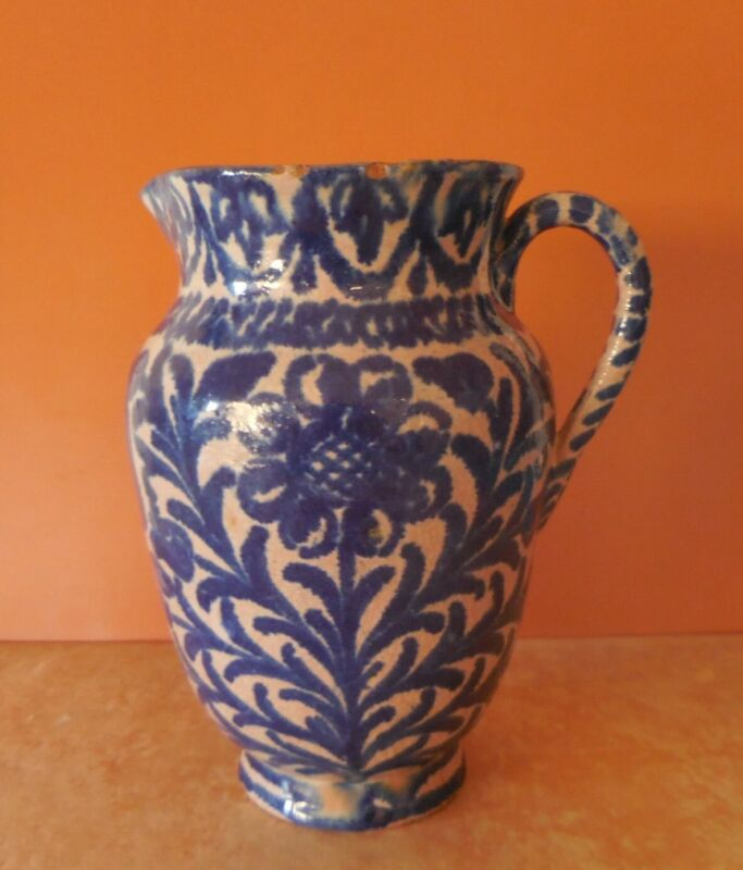Antique Ceramica de Fajalauza, Granada Spain Blue & White Pitcher, 18th century