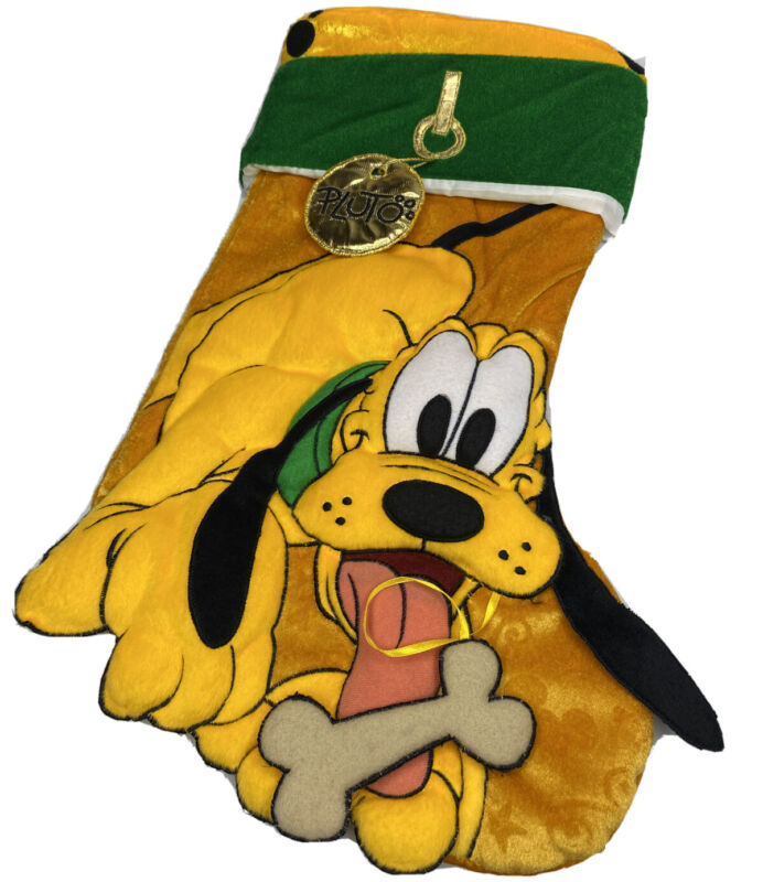 "Disney Parks PLUTO Plush Christmas Stocking 20"" 3D Holiday RARE Hard To Find"