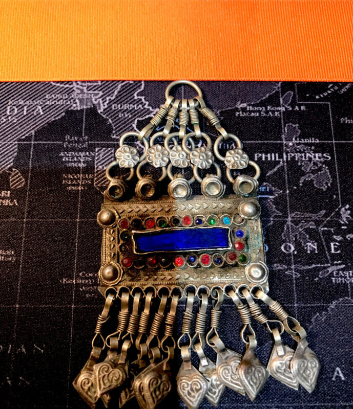 Rare Morocco Antique Berber Ethnic Tribal Glass Silverplated Pendant/ Necklace