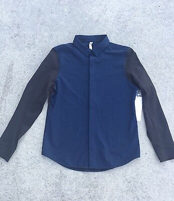 LULULEMON Mainstay Hybrid Buttondown Men's Shirt Size M Black/Navy NEW $118