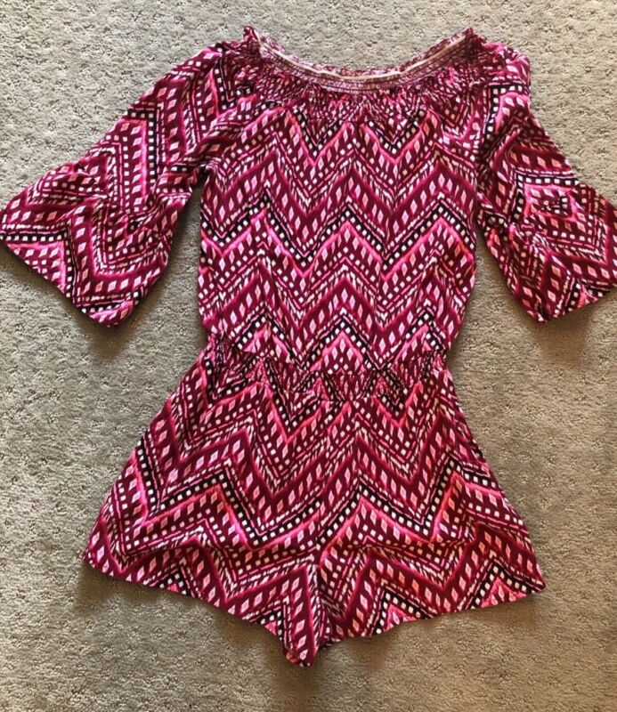 Justice girls size 18 XL Shorts Romper Cute short sleeve red pink