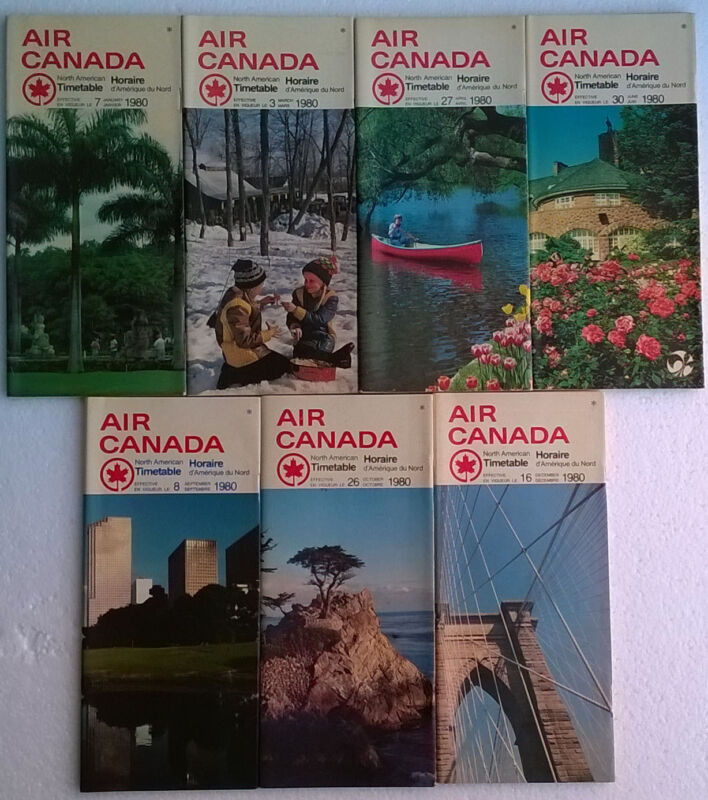 Air Canada North American timetable lot of 7 1980 comp yr [4111] Buy 4+ save 25%