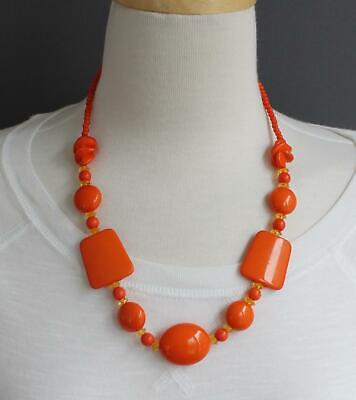 Orange beaded necklace chunky plastic beads statement fashion necklace (Orange Beaded Necklace)