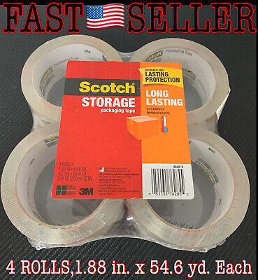 Genuine Scotch Storage Tape Long Lasting 1.88 X 54.6yds 3 Core Clear 4-pack
