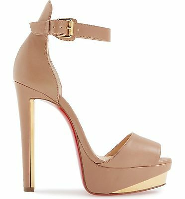 $1095 Christian Louboutin TUCTOPEN 140 Platform Ankle Strap Sandal Shoe 9.5 Nude