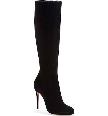 NIB Christian Louboutin Fifi Tall Boot Suede Leather Black Heel Boots 35.5 / 5.5