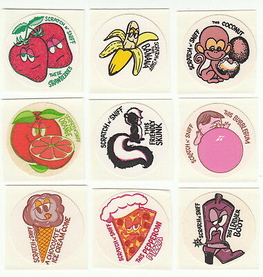 Vintage Toys for America Scratch and Sniff Stickers Pizza Chocolate - You Choose - Toys For