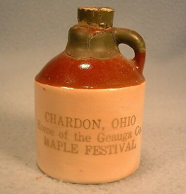 Vintage Miniature Stoneware Crockery Advertising Jug Chardon Ohio Maple Festival