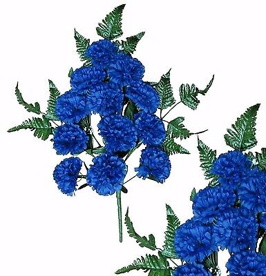 Blue Carnation Poly Silk Memorial Flower 20  Bouquet Spray Cemetery Outdoor