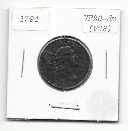 1794 Liberty Cap HALF CENT Coin US Currency Corrosion VF 20 GENUINE Money ANACS