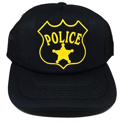 Toddler Kids Police Cop Halloween Costume Snapback Mesh Trucker Hat Cap 3-8](Cop Hat Halloween)