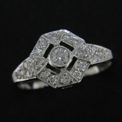 18ct Vintage Art Deco Style Diamond Cluster Ring White Gold Size L 0.35ct New