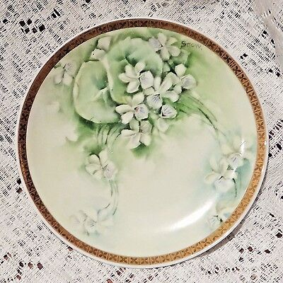 """ANTIQUE RS GERMANY PORCELAIN HAND PAINTED & SIGNED FLORAL PATTERN 6"""" PLATE - 5"""