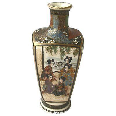 Miniature Japanese Gilt Satsuma Porcelain Footed Square Vase Signed 19th Century - $249.00