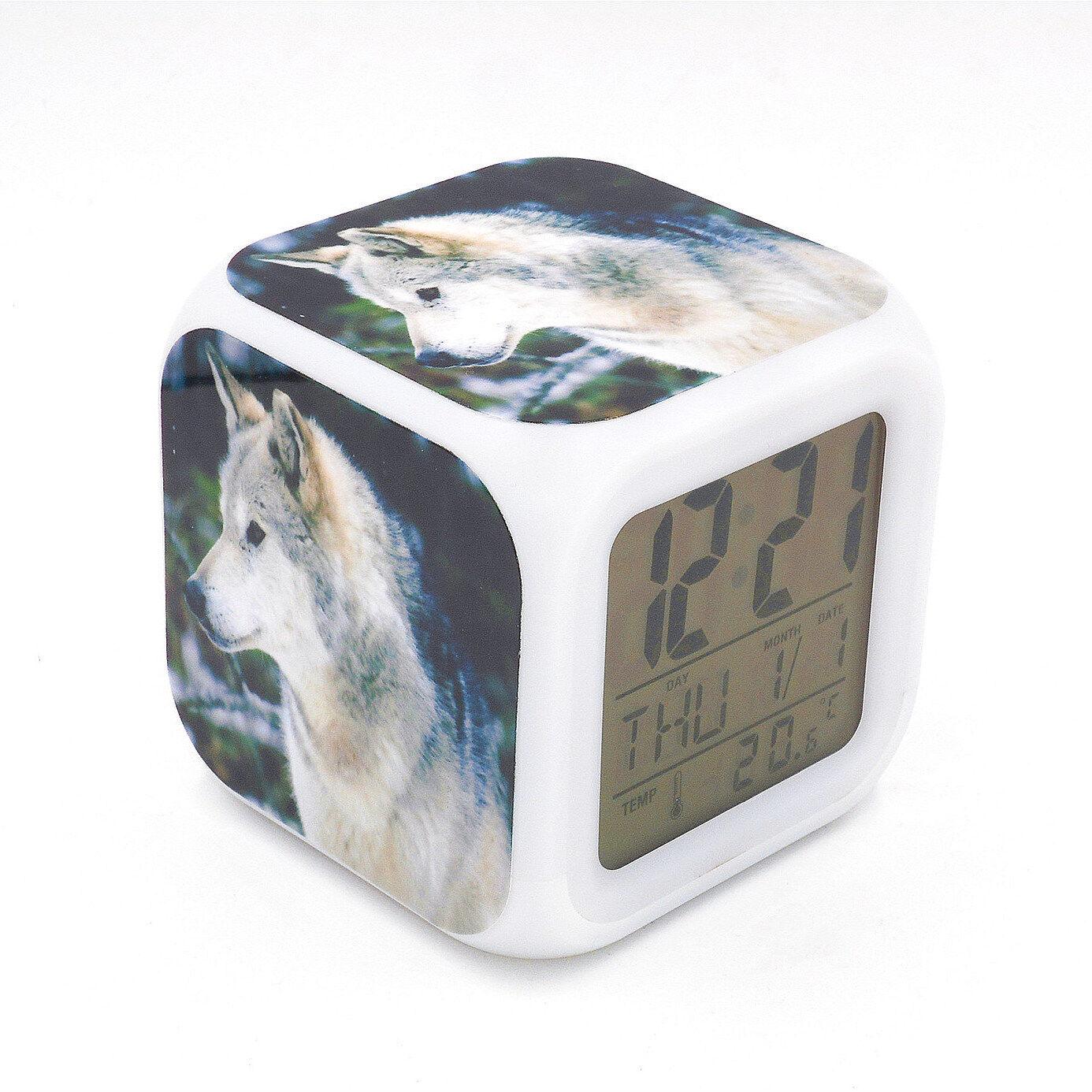 White Wolf Snow Led Alarm Clock Creative Desk Digital Clock for Adult Kids Toy
