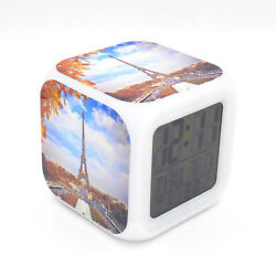 Autumn Eiffel Tower Led Alarm Clock Creative Desk Digital Clock for Adults Kids