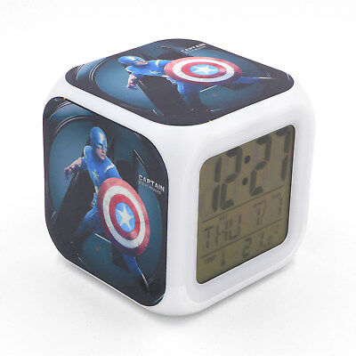 Avengers Captain America Alarm Clock Creative Desk Digital Clock for Adults Kids