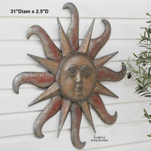 Sun Wall Decor Metal Accent Garden Art Indoor Outdoor Patio Distressed Sculpture