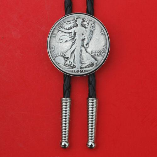 "US 1916 ~ 1947 Walking Liberty Half Dollar 90% Silver Coin 36"" Cord Bolo Tie NEW"