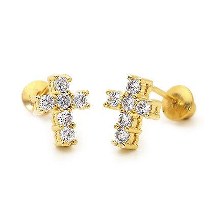 (14k Gold Plated Mini Cross Children Screw Back Baby Girls Earrings)