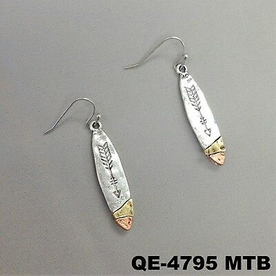 Hammered Design Dangle Bar Charm Engraved Arrow Silver Finish Hook Earrings - Hammered Silver Charm
