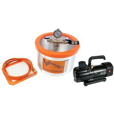 Bvv 2 Gallon Aluminum Vacuum Chamber Bvv130 3cfm Single Stage Mini Pump Kit