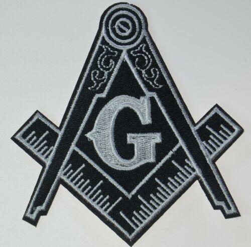 Masonic G Compass Emblem Embroidered Iron Sew On Patch Freemason Masons B&W Logo