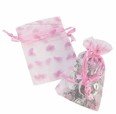 24 Pink Girl Baby Shower Organza Drawstring Treat Bags Party - Girl Shower