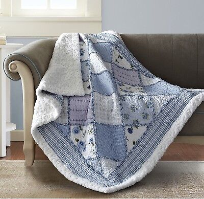 Garden Quilted Throw (GARDEN of BLUES 50x60 QUILT THROW : COUNTRY COTTAGE RAG PURPLE SHERPA BLANKET )