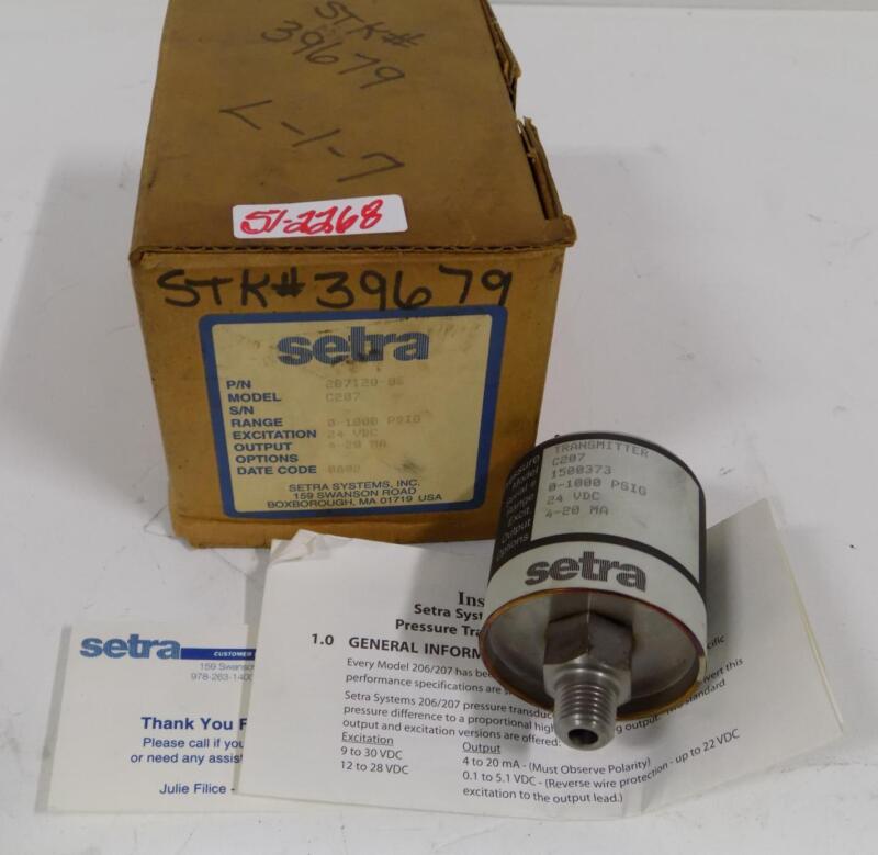 SETRA 0-1000PSIG PRESSURE TRANSMITTER C207 / 207120-08 NIB