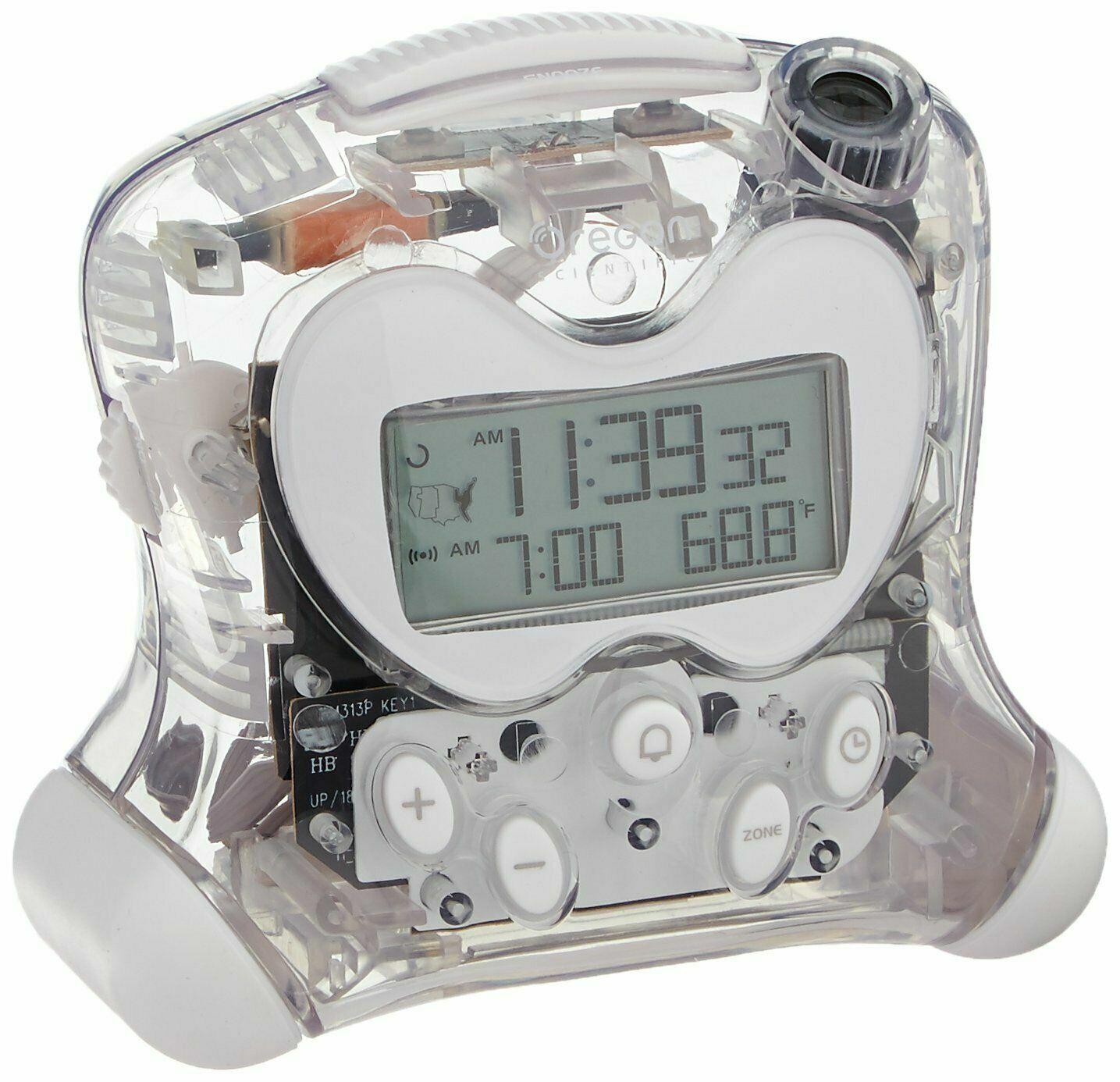 Oregon Scientific Atomic Projection Clock Indoor Temperature – Transparent Clear Alarm Clocks & Clock Radios
