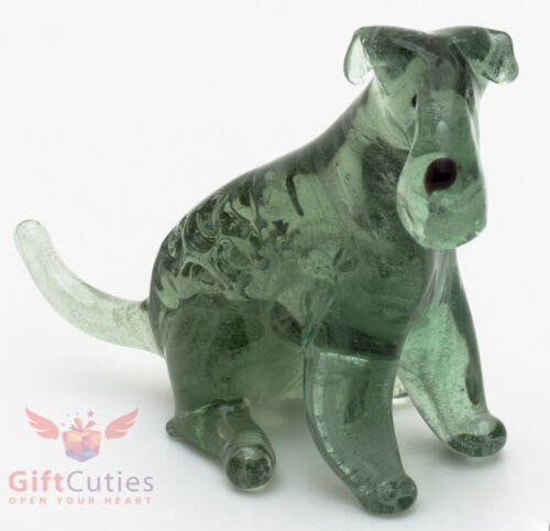 Art Blown Glass Figurine of the Kerry Blue Terrier Dog