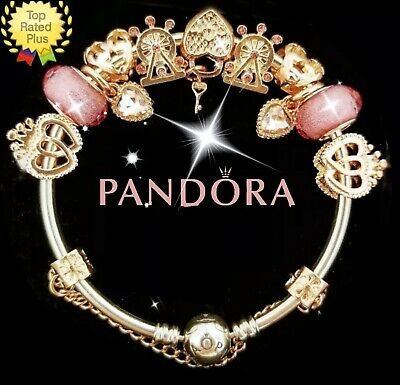 Authentic Pandora Bracelet Silver Bangle with Rose Gold Love European Charm