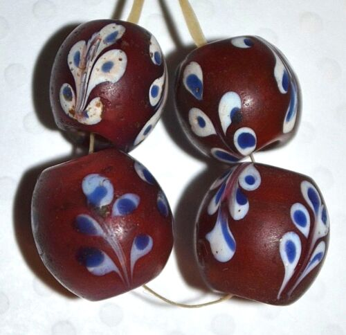 Antique Venetian Red Fancy Floral Lampwork Glass Beads White Heart African Trade