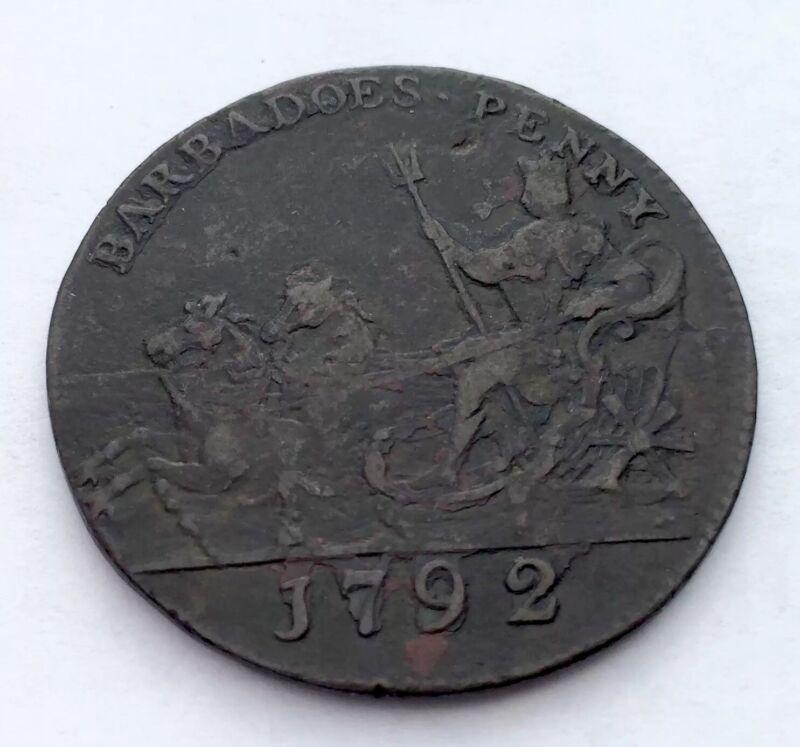 BARBADOS/BARBADOES 1 PENNY 1792 VF
