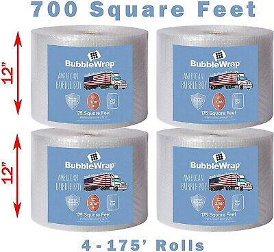 4 Rolls Bubble Wrap Cross Cut Perforations Cushioning Shipping 700 Ft. X 12 New