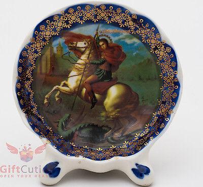 (Porcelain gzhel decal plaque Icon St. Saint George Георгий Победоносец)